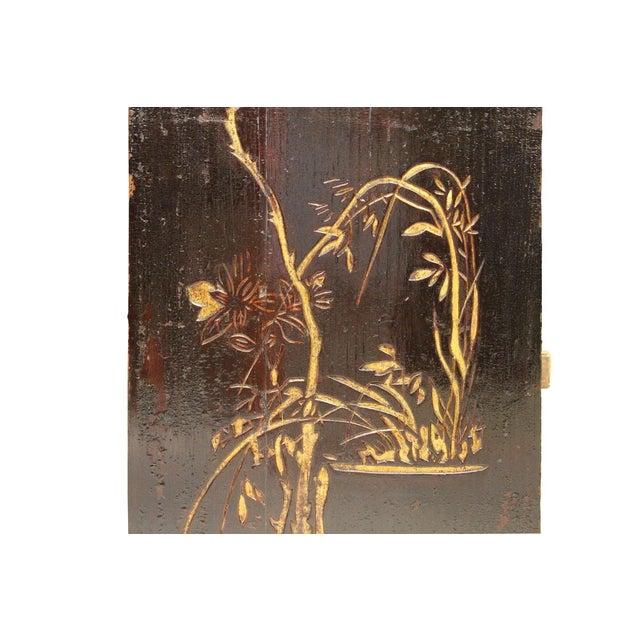 Vintage Restored Flower Carving Wood Panel For Sale - Image 4 of 7