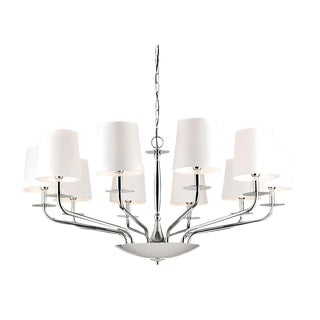 10 Lamp Polished Chrome Chandelier For Sale