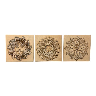 1970s Boho Chic John Wenzel Sun Motif Ceramic Wall Art Tiles - Set of 3 For Sale
