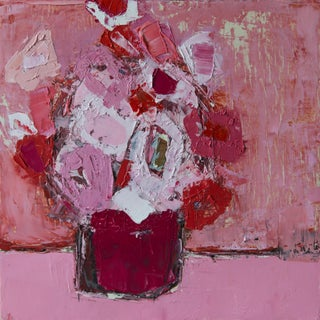 "Bill Tansey ""Hot Pink"" Abstract Floral Oil Painting on Canvas For Sale"