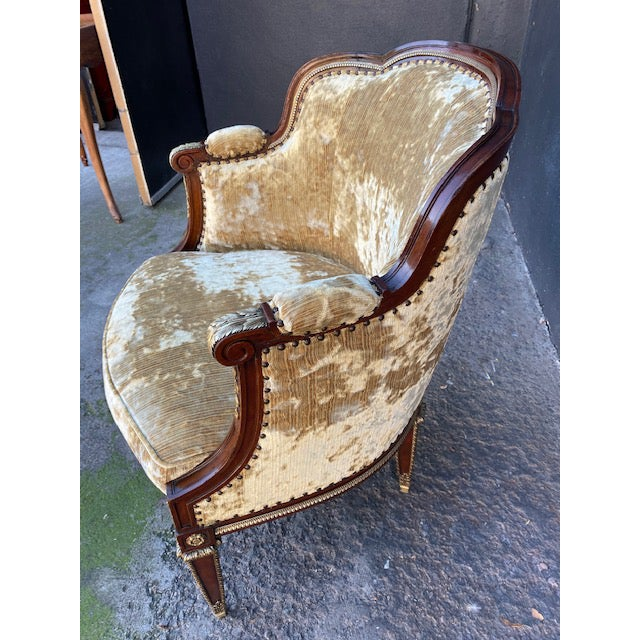 19th Century Vintage French Bronze Mounted Barrel Chair For Sale - Image 10 of 13