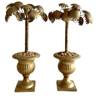 Vintage Pair Hollywood Regency Brass Candleholders For Sale