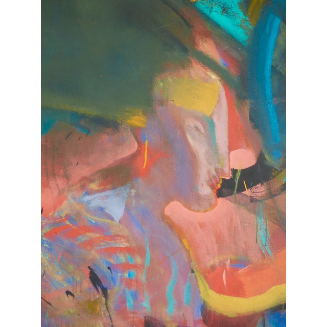 Mid-Century Abstract Oil Painting For Sale - Image 5 of 7