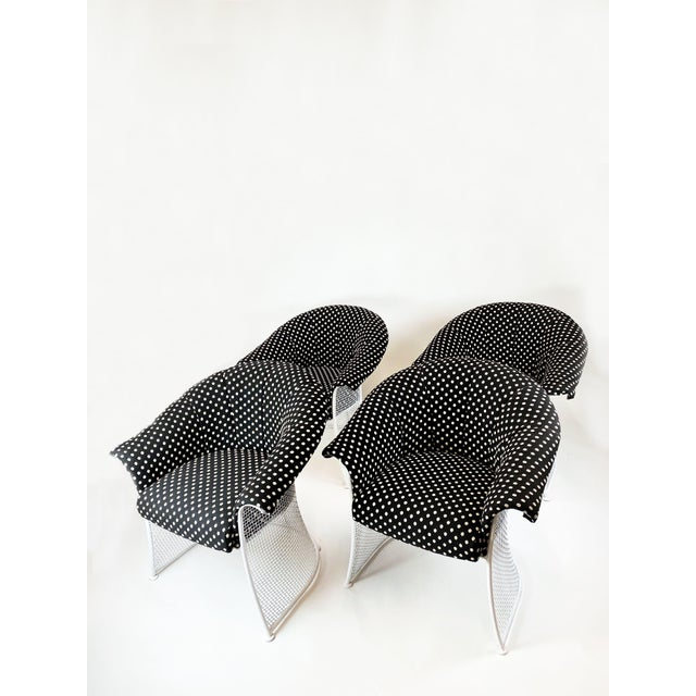 Woodard Furniture Co. Rare 1950s Russell Woodard Black and White Polka Dot Patio Wrought Iron Set For Sale - Image 4 of 13