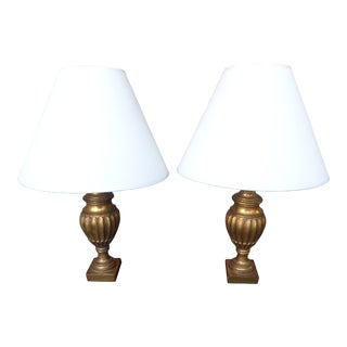 Vintage Pair of Borghese Gilt Urn Lamps For Sale