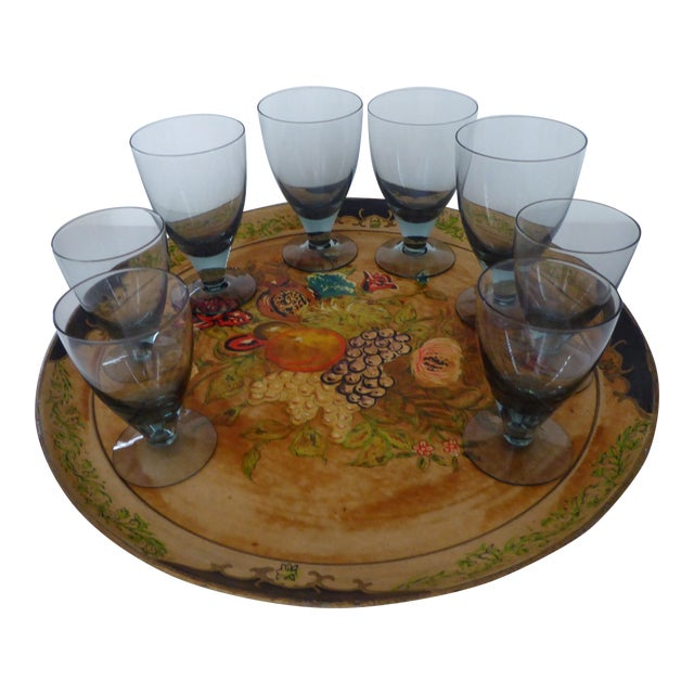 Hand Painted Tray & Crystal Liqueur Glasses-Set of 9 For Sale