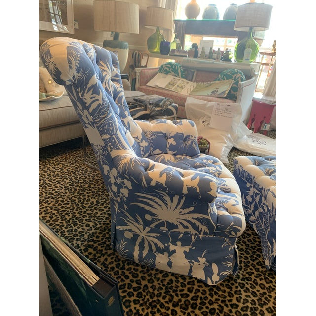 Vintage Tufted Club Chair With Ottoman - a Pair For Sale - Image 4 of 6