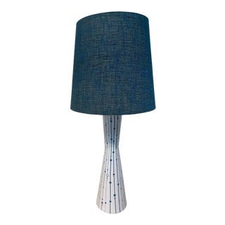 1960s Mid Century Modern Blue & White Handpainted Table Lamp for Raymor Pottery, Italy For Sale