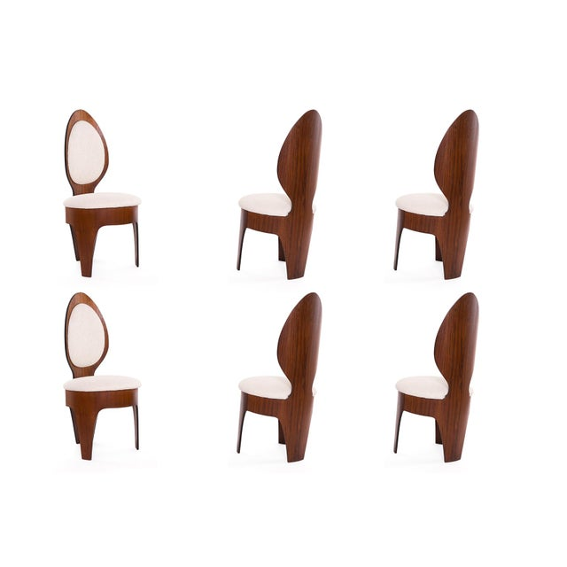 Henry Glass 'Spoon' Walnut Frame Dining Chairs - Set of 6 For Sale - Image 9 of 9