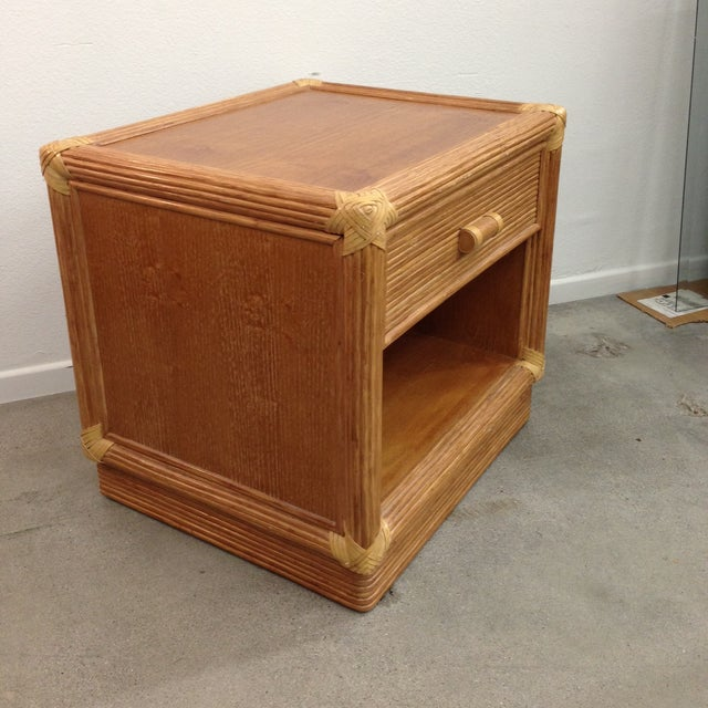 Island Style Wood & Rattan Nightstands - A Pair For Sale - Image 7 of 8