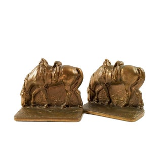 1920s Southwestern Brass Cowpony Horse Bookends - a Pair For Sale