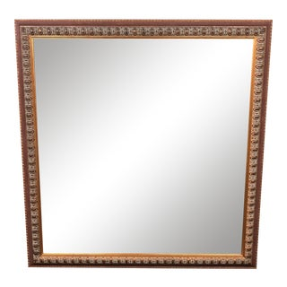 Italian Square Gold Beveled Wall Mirror