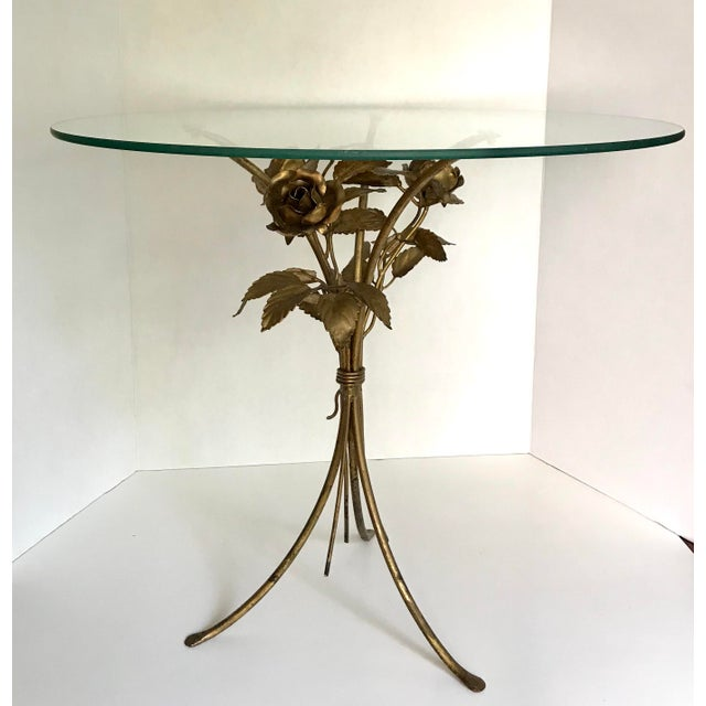 Vintage Gilded Floral and Glass Table - Image 3 of 3