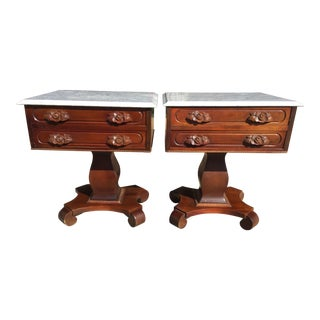 Italian Marble Top End Tables - a Pair For Sale