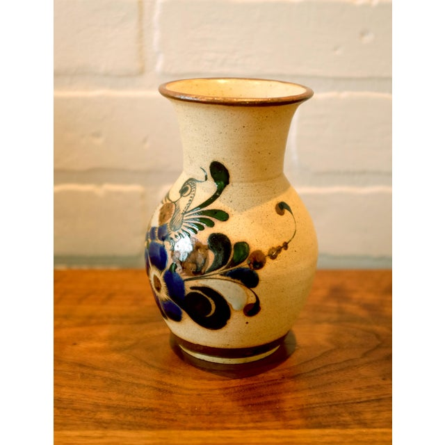 Boho Chic Hand Painted Mexican Studio Pottery Ceramic Vessel For Sale - Image 3 of 8