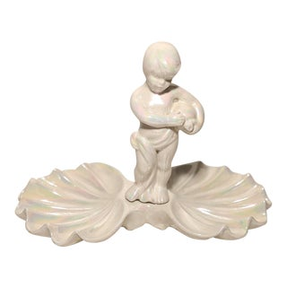 Vintage White Iridescent Lusterware Cherub Figurine Clamshell Dish For Sale