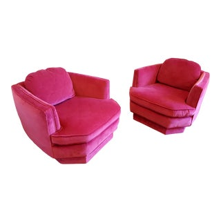 Geometric Fuchsia Club Chairs - A Pair