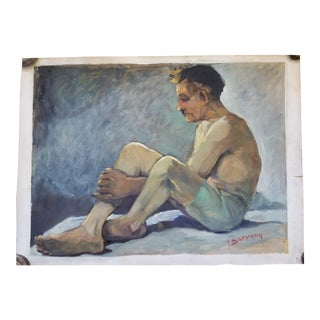 1940s Figurative Male Acrylic Painting For Sale