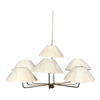 Niermann Weeks Capucine 9 Light Gold Leaf Chandelier With Linen Shades For Sale