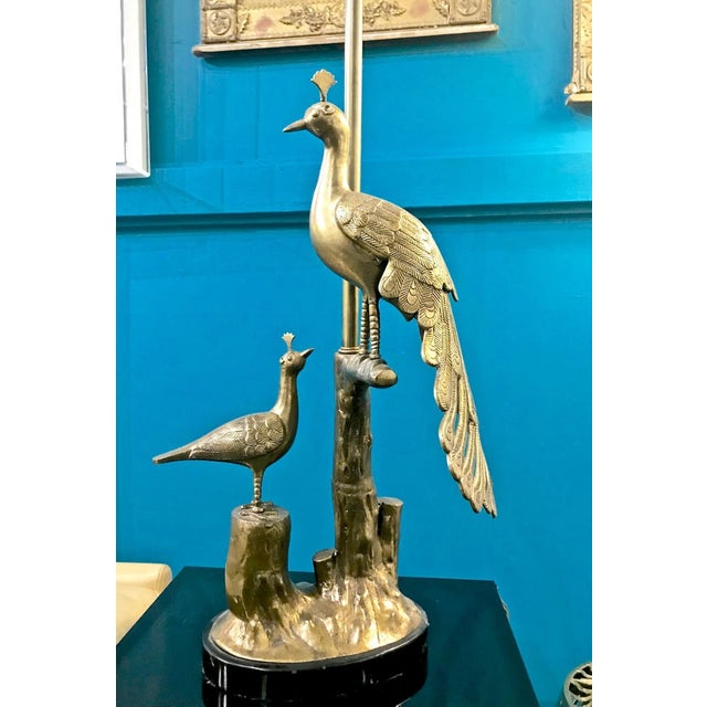 This is a great pair of Marbro solid brass peacock and chick table lamps that date to the early 1960s. The casting of the...