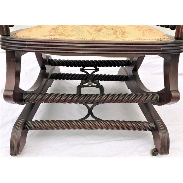"Late 19th Century George Hunzinger Highback ""Lollipop"" Platform Rocking Chair For Sale - Image 10 of 13"