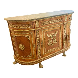 French Marble Top Demilune Console With Key For Sale