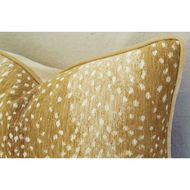 """Custom Tailored Antelope Fawn Spot Velvet Feather Down Pillows 21"""" X 18"""" - Pair For Sale - Image 9 of 12"""