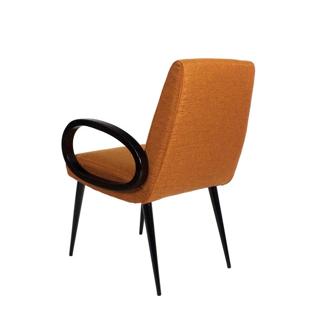 1950s 1950s Pair of Bridge Armchairs, Oval Arms, Stained Beech, Fibreguard, France For Sale - Image 5 of 9