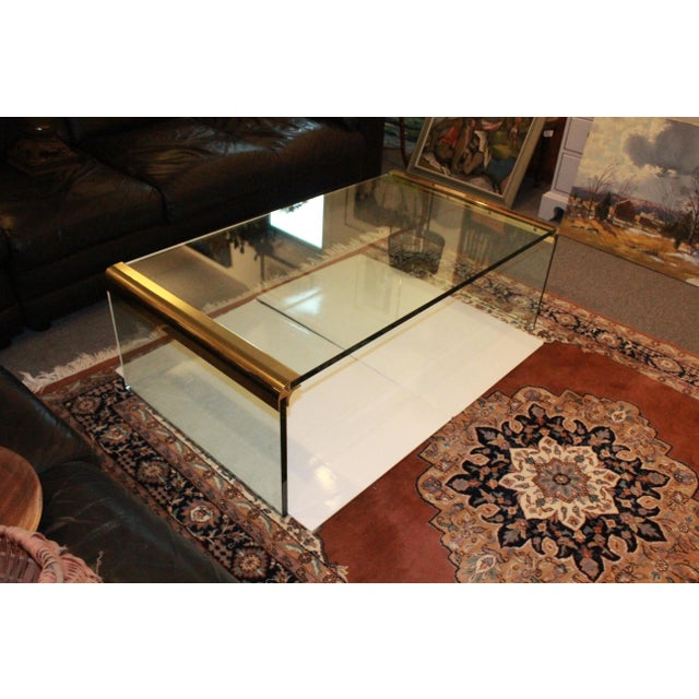 Gold 1970s Modern Leon Rosen for Pace Collection Waterfall Glass and Brass Cocktail Table For Sale - Image 8 of 8
