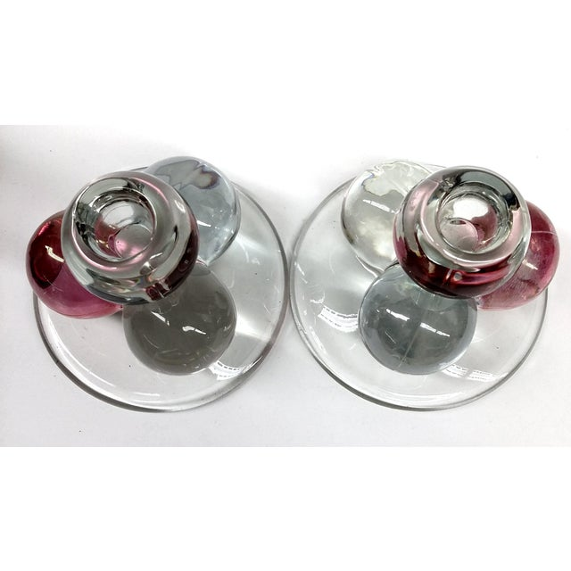 Transparent MCM Westmoreland Glass Ball Candle Holders - 2 For Sale - Image 8 of 8