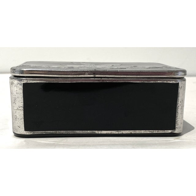 Art Deco English Sterling Silver Black Glass Box Fox Hunt For Sale - Image 9 of 13
