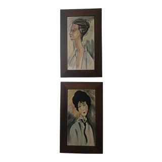 Framed Ceramic Tiles - A Pair For Sale