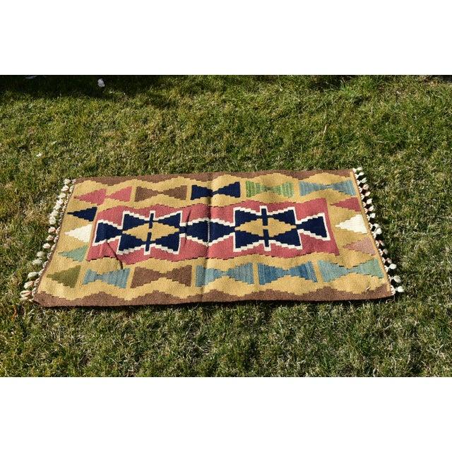 Nomadic Tribal Design Anatolian Oushak Traditional Wool Handmade Turkish Kilim Rug For Sale - Image 4 of 10