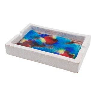 Bitossi Italy Raymor Ceramic Ashtray Bowl Fritte Fused Glass Mosaic For Sale