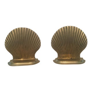 Brass Scalloped Shell Bookends - A Pair For Sale