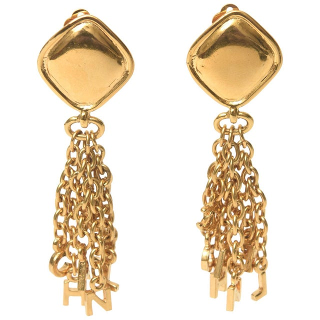 Vintage Chanel Pair of Gold Plated Charm Dangle Clip on Earrings For Sale - Image 10 of 10