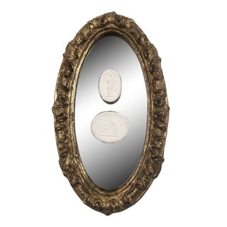Mid 20th Century Italian Giltwood Mirror With Intaglios For Sale