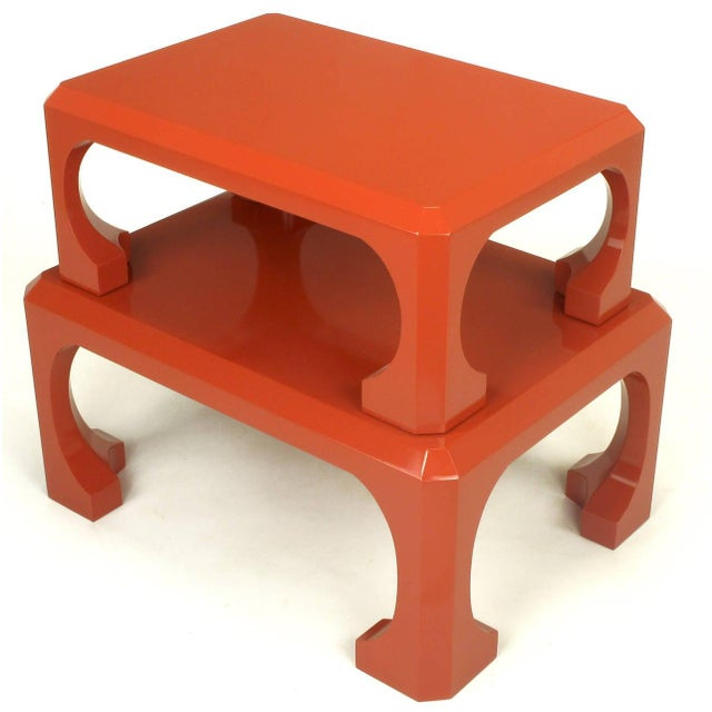 Asian Bert England for Baker Cinnabar Red Asian Modern Stacking Tables - a Pair For Sale - Image 3 of 9