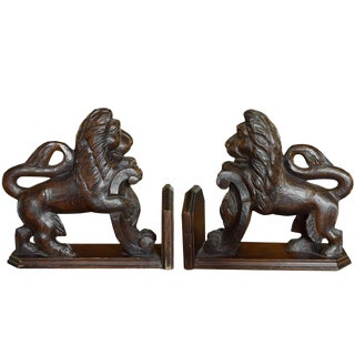 Pair of Carved Wood Lions