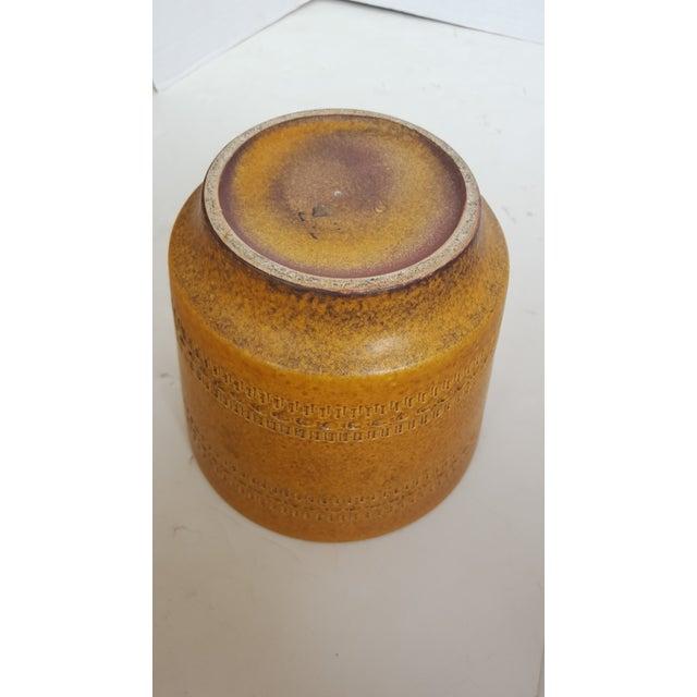 German Modern Etched Mustard Glazed Pot - Image 3 of 3