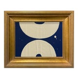 Image of Ron Giusti Mini Wagasa Navy Cream Acrylic Painting, Framed For Sale