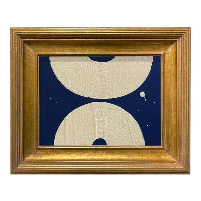 Ron Giusti Mini Wagasa Navy Cream Acrylic Painting, Framed For Sale