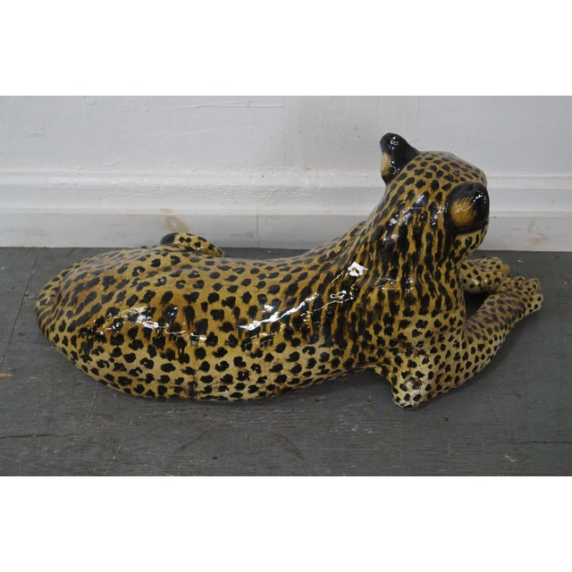 Large Italian Pottery Ceramic Leopard Statue For Sale - Image 4 of 10