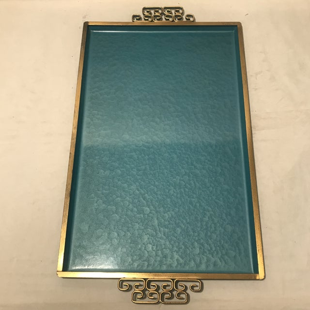Kyes 1960s Teal & Blue Kyes Metal Trays - a Pair For Sale - Image 4 of 6