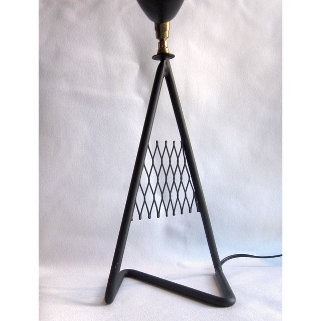 1950s French Vintage Mid-Century Modern Matte Black Aluminum Zig Zag Base Lattice Lamp For Sale - Image 4 of 10