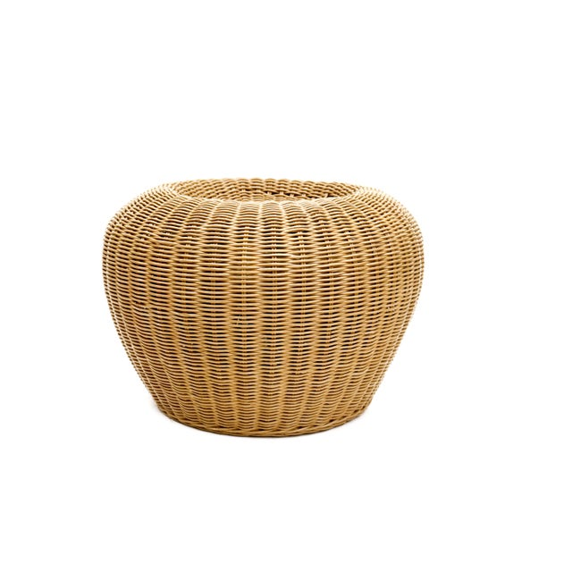 Vintage Woven Wicker Rattan Pouf Footstools Ottomans - Image 6 of 10