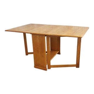 1970s Vintage Heywood -Wakefield Drop Leaf Dining Table For Sale