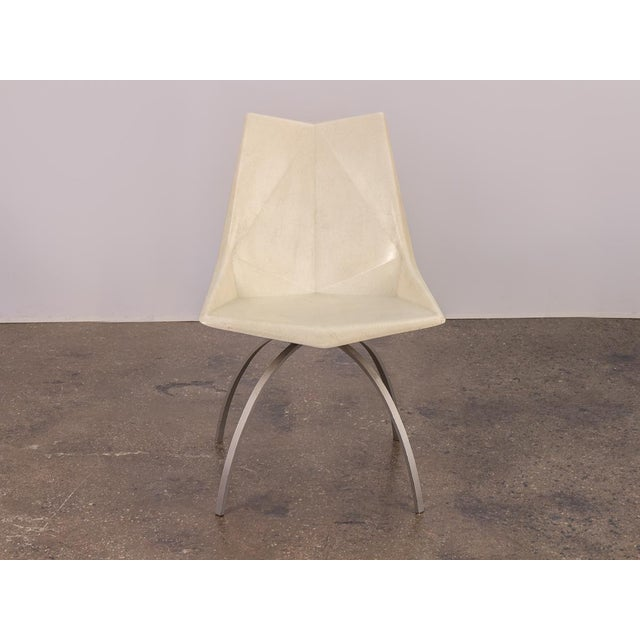 1960s vintage white molded fiberglass Origami shell chair designed by Paul McCobb on very scarce spider base. A stunning...