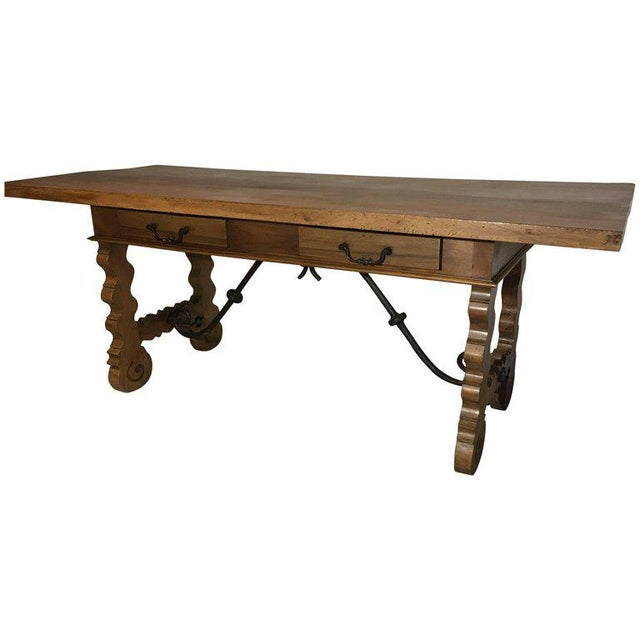 18th Century Baroque Original Farm Refectory Desk Table With Two Drawers For Sale - Image 11 of 11