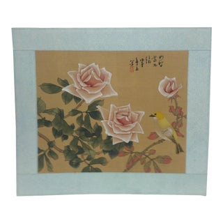 "Vintage Mid-Century ""Roses and Canary"" Original Hand-Painted Chinese Print on Silk For Sale"